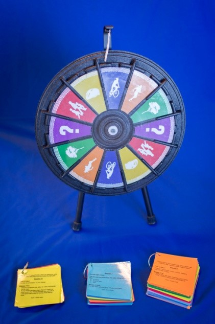 A colorful game wheel