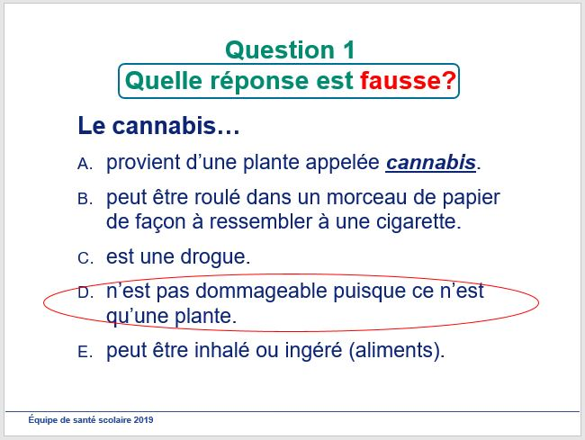 Photo de diapositive de la présentation de cannabis
