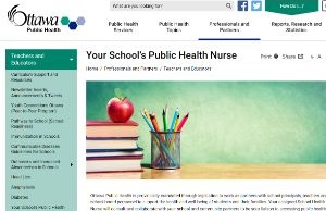A screenshot of the school public health nurse web page