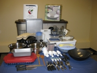 Photo of cooking supplies in I Love to Cook bin