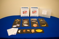 a Navy blue table display with Black flash cards that show different foods featured in the Canadian food guide.