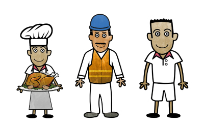 3 cartoon workers. One is a chef, the others are a construction worker and a tennis coach.