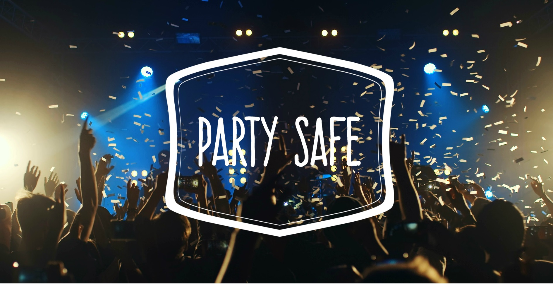 Party safe banner. People jumping up at a concert