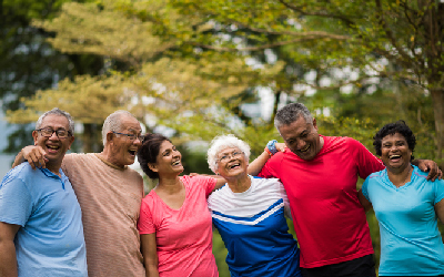 Group of active older adults enjoying being together