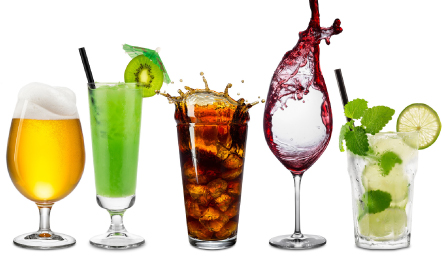 Five different types of drinks
