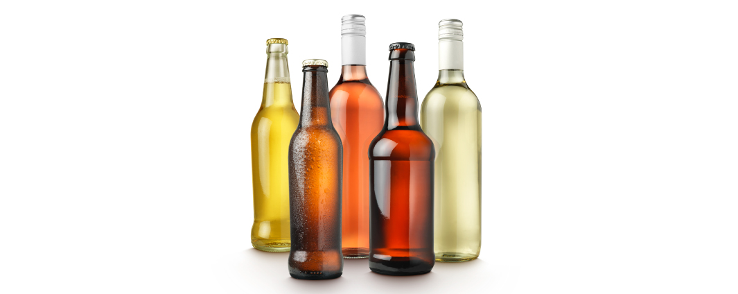 Different beer and wine bottles