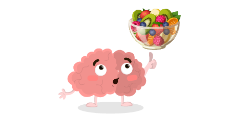Un cerveau dessiné regardant un bol de fruits