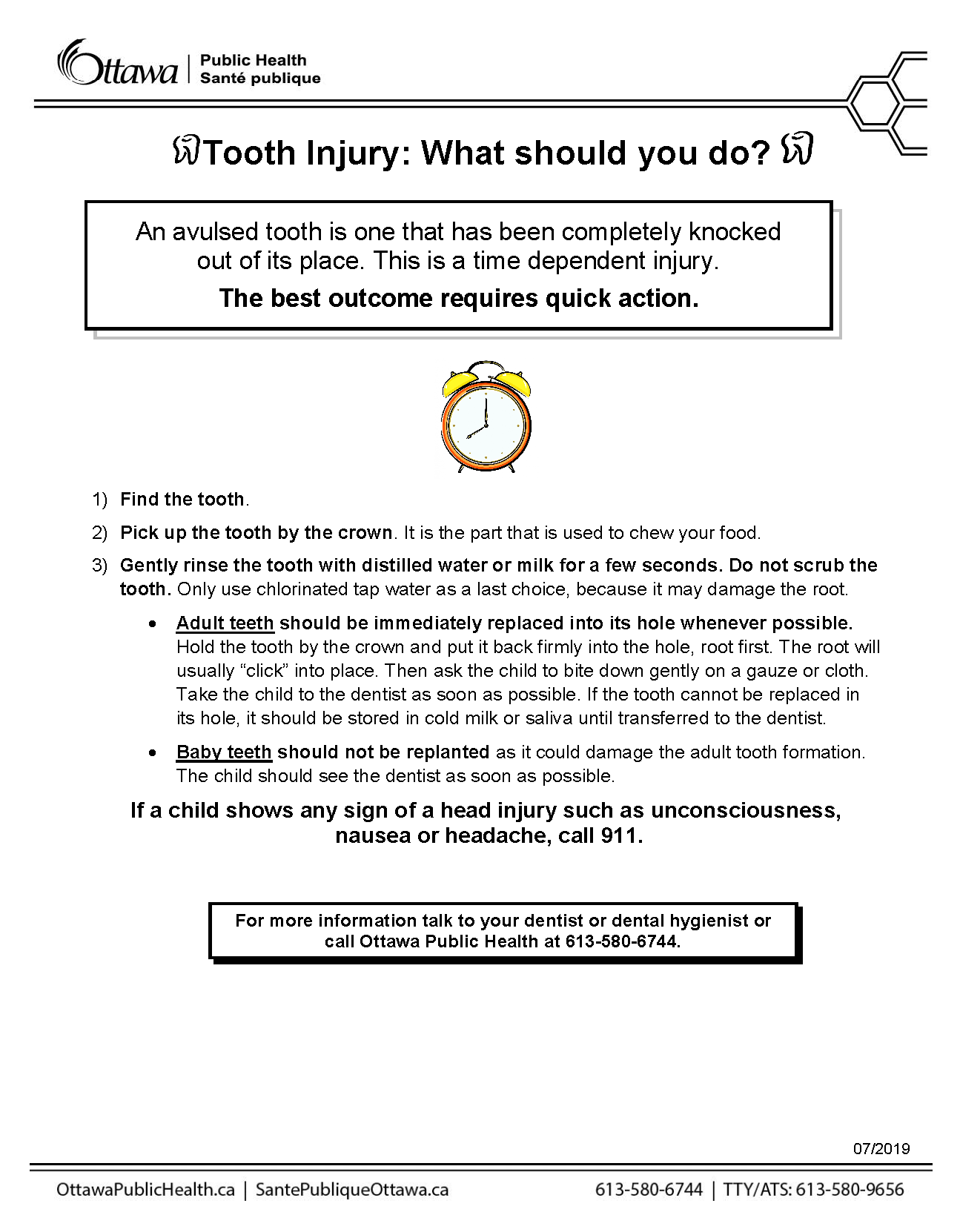 factsheet that covers the steps to take when you have a tooth injury