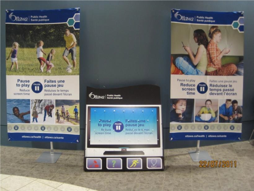 Display of two banners about sedentary behaviour and Plinko game