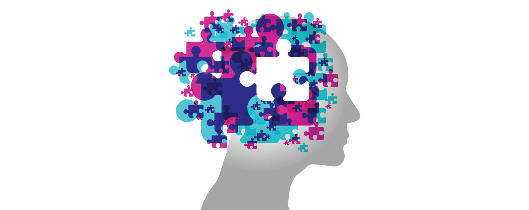 A head with puzzle pieces around the brain with a white background