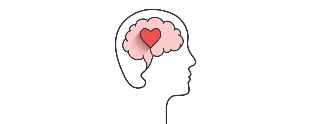 A head with a heart in the brain with a white background