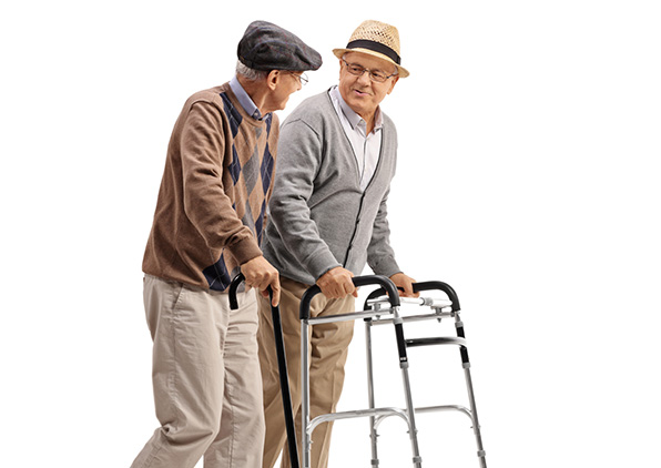 Older men using walkers