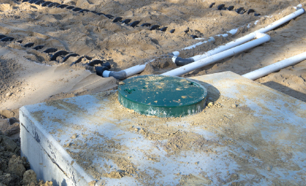 a partically installed septic bed and septic tank