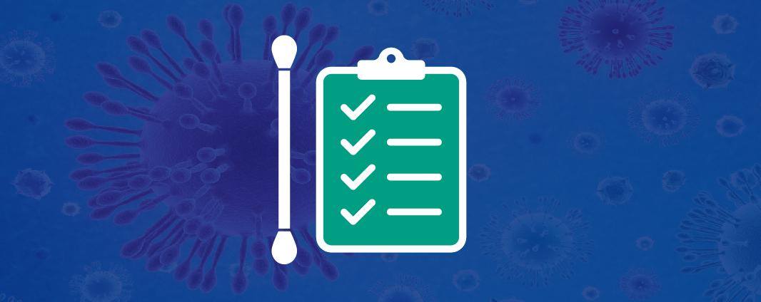 A web banner with a swab and a checklist
