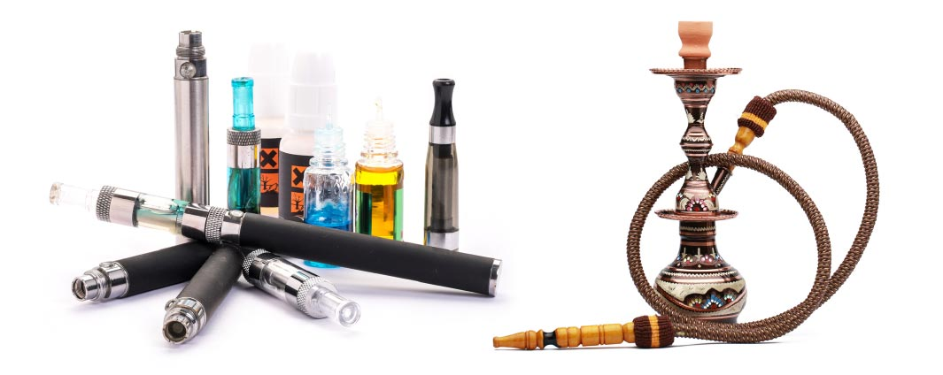 A variety of electronic cigarettes displayed and a picture of a hookah