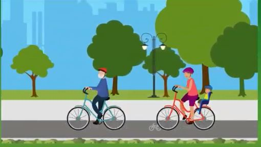 Cartoon people cycling