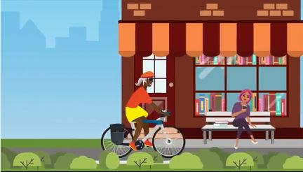 A cartoon person cycling in front of a store window