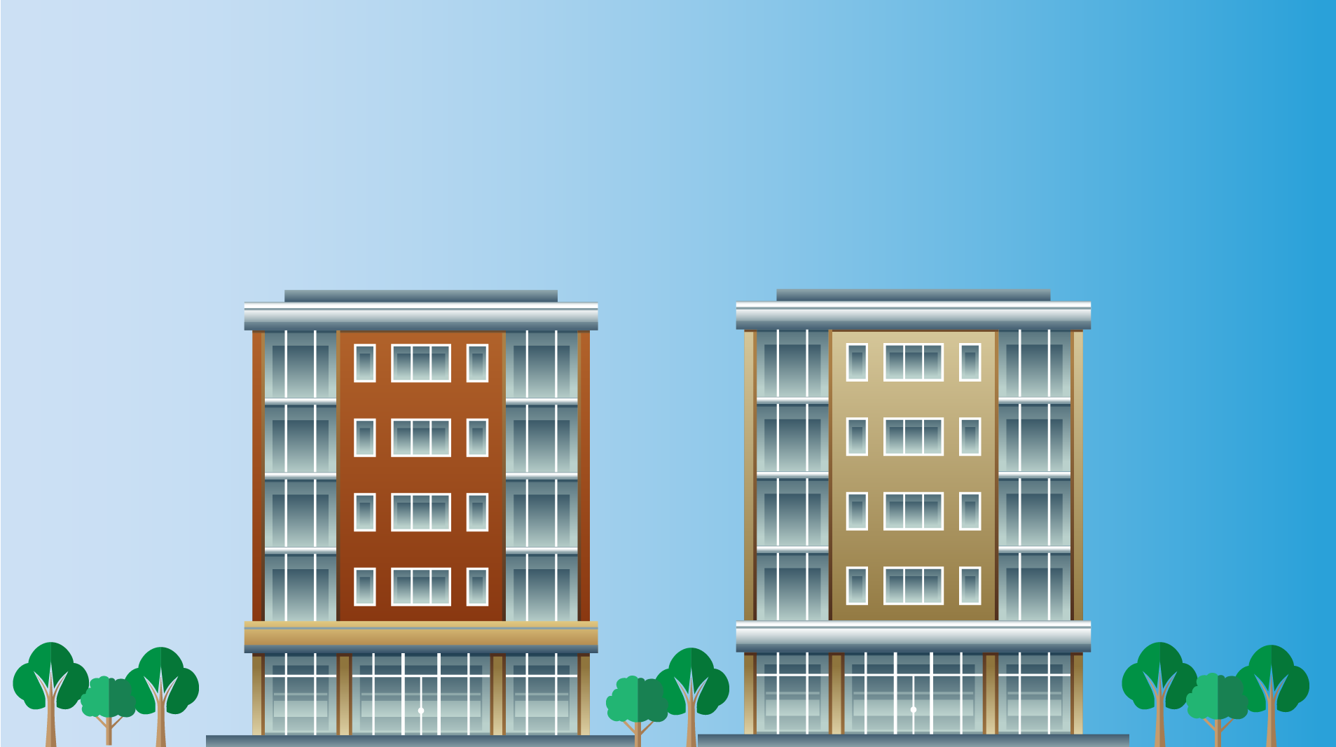 Two apartment buildings with trees