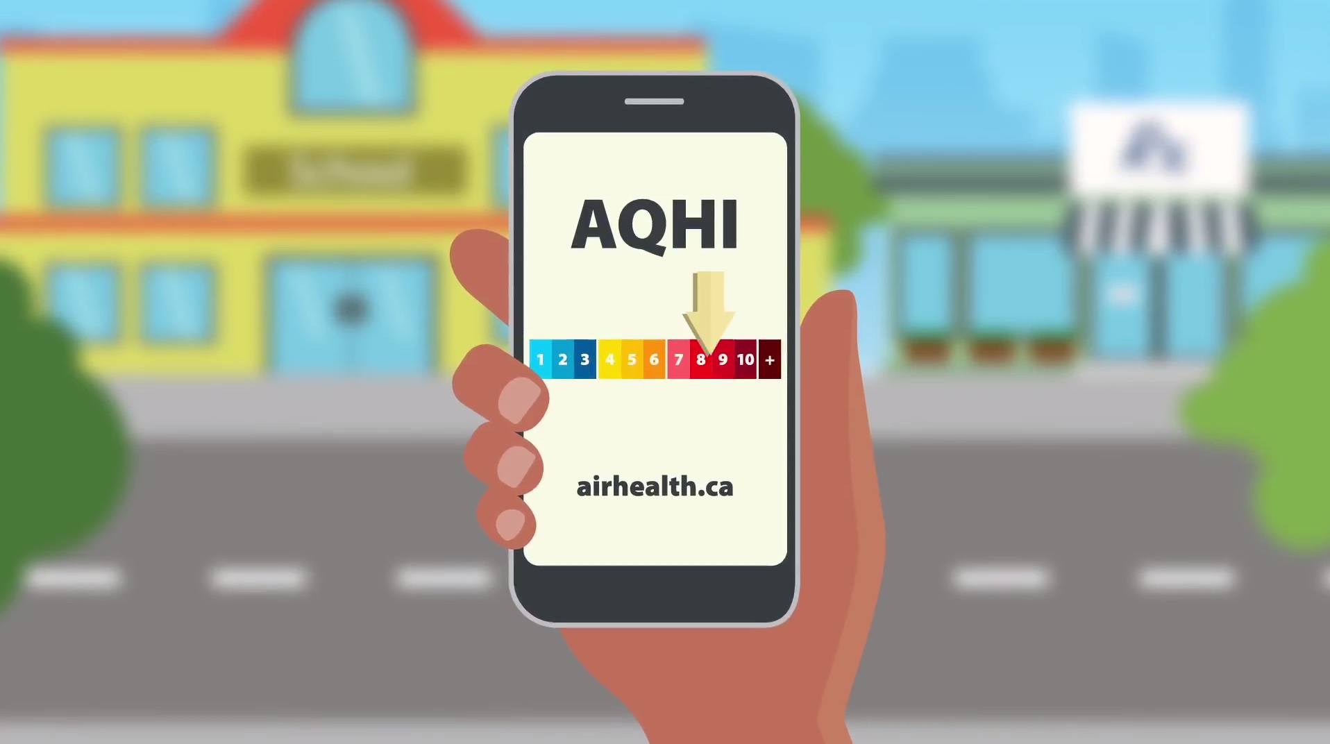 A hand holding a cell phone that reads airhealth.ca