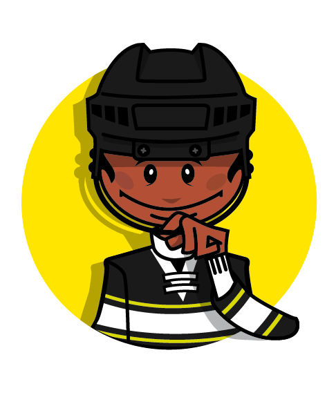 A cartoon character wearing a hockey helmet with one finger between a chinstrap and chin