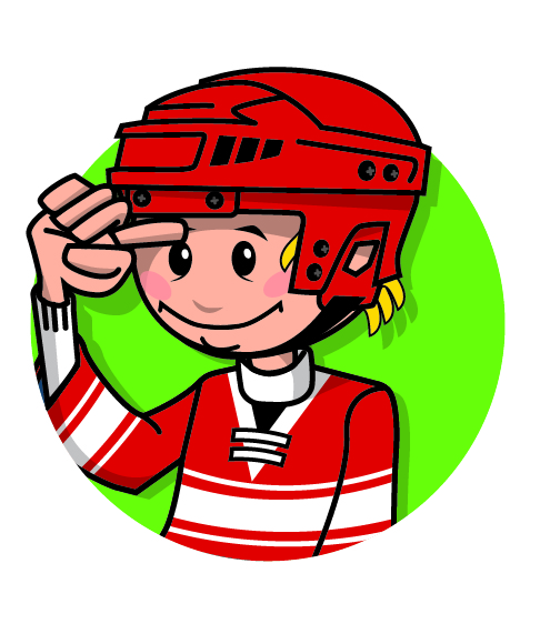 A cartoon character wearing a hockey helmet with two fingers above its eyebrow