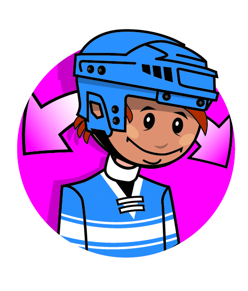A cartoon character wearing a hockey helmet. Arrows are next to its head indicating a side to side motion.