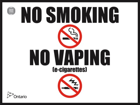 Sign indicating no smoking and no vaping