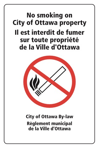 Sign indicating no smoking on City of Ottawa property