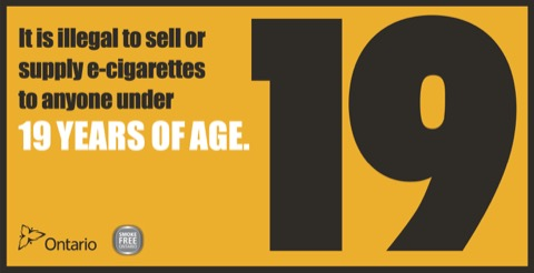 Sign indicating that it is illegal to sell or supply e-cigarettes to someone under the age of 19.