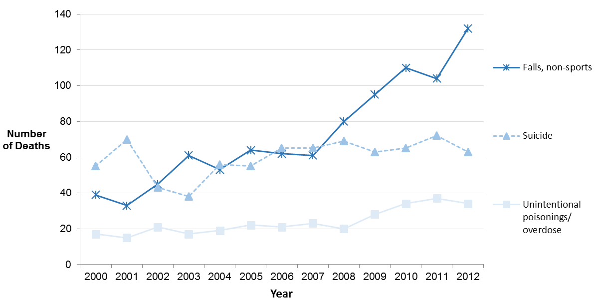 Line chart presenting the number of deaths for the top three leading causes of injury deaths for Ottawa residents, all ages, from 2000 to 2012.