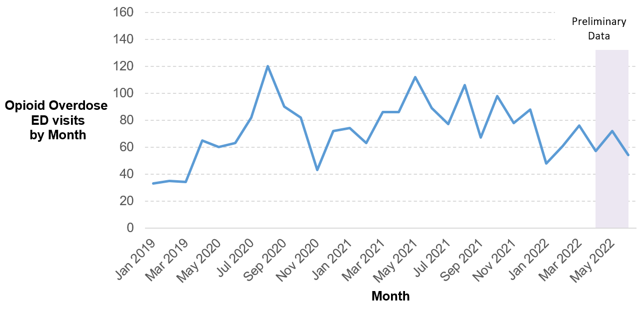 Line graph of the monthly count of emergency department visits at Ottawa hospitals for patients diagnosed with an opioid overdose/poisoning.