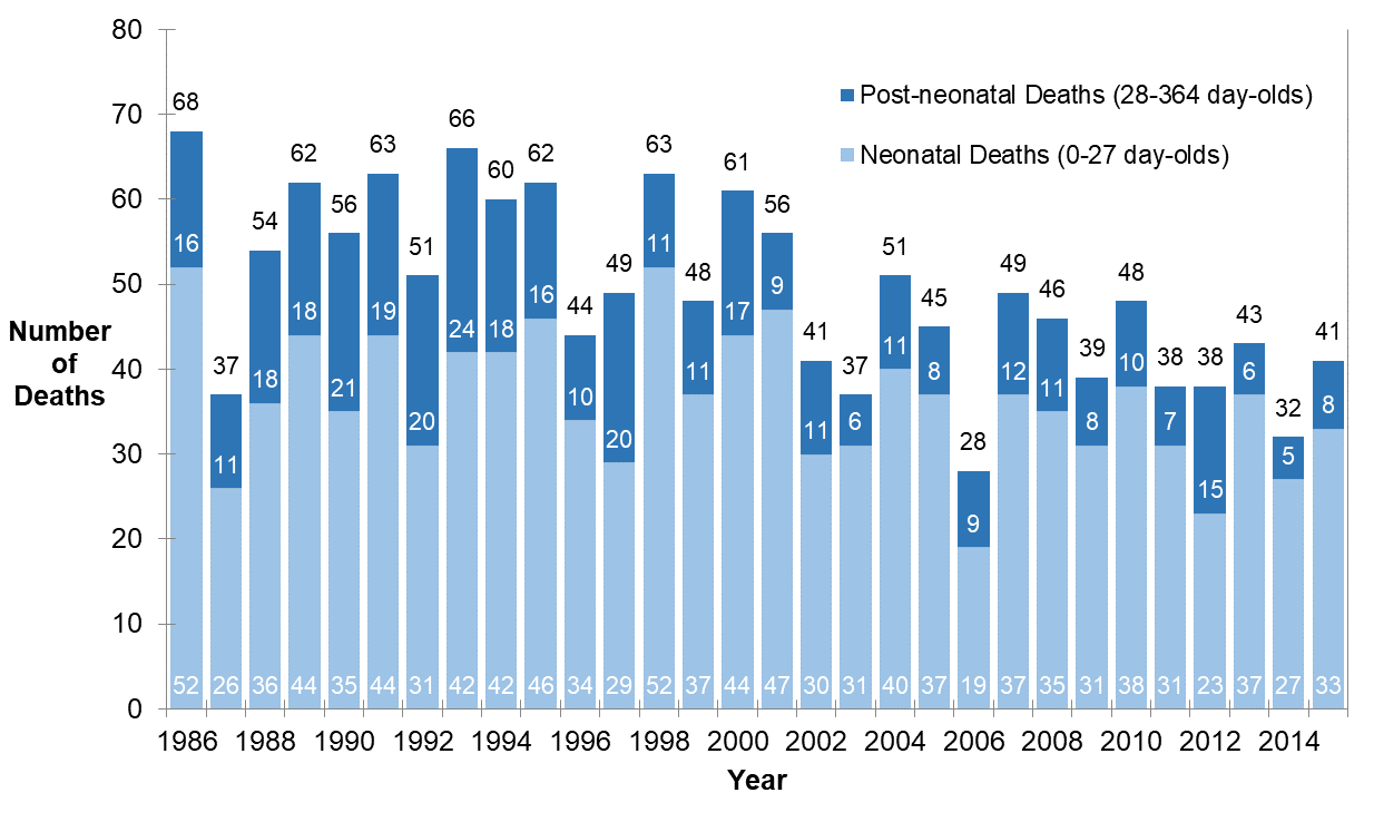 Vertical bar chart of the number of neonatal and post-neonatal deaths each year from 1986 to 2015 in Ottawa.