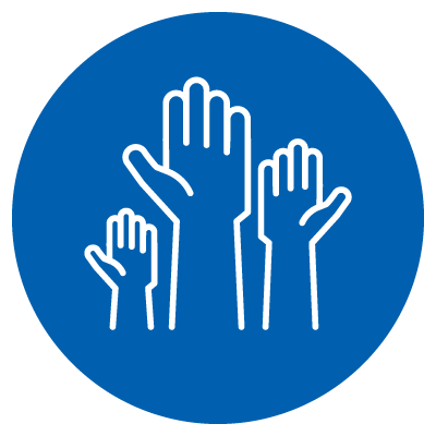 a vector image of three hands in the air