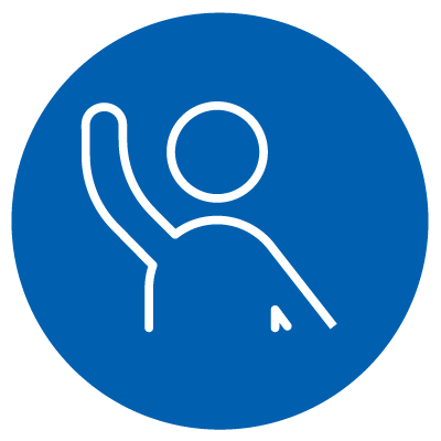 Vector image of a person with their right arm in the air