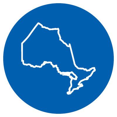 A vector image of a map of the province of Ontario