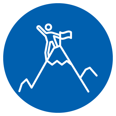 Vector image of a person climbing a mountain and planting a flag on the summit