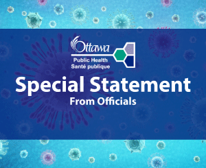 A picture with the words special statement from officials