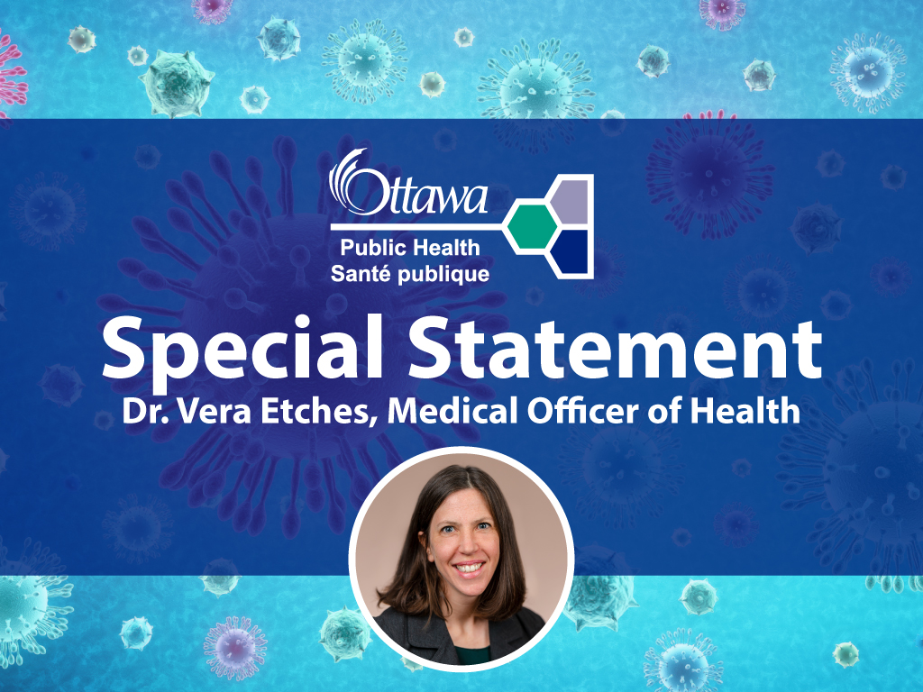 A picture of Dr. Vera Etches with the words special statement