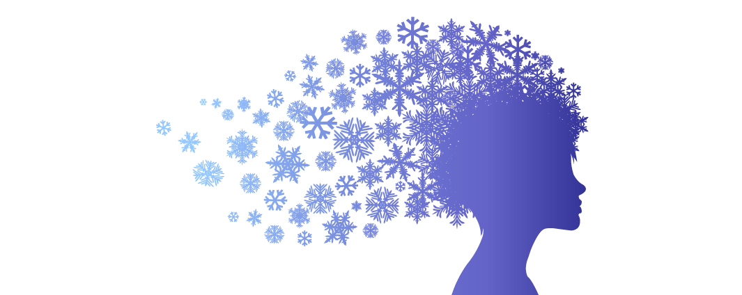 Image of a persons head with winter themed graphics